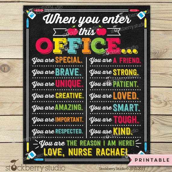 School Nurse Sign Printable School Nurse Decor School Nurse