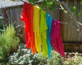 """LARGE Set of Play Silks, Six Large 35"""" x 35"""" Rainbow Playsilks"""