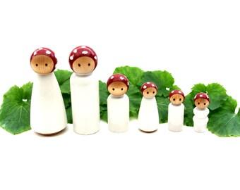 Mushroom Peg Family, Six Hand Painted Waldorf Toy Wooden Dollhouse Dolls