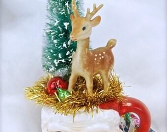 Holiday Tabletop Decor - Vintage Santa Mug - Reindeer - Bottlebrush Tree - Cute Gift!