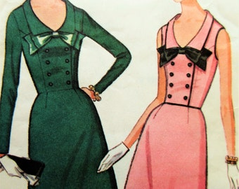 Vintage McCall's 7522 Sewing Pattern, 1960s Dress Pattern, Button Front, Sleeve Variations, 1960s Sewing Pattern, Bust 36, Flared Dress