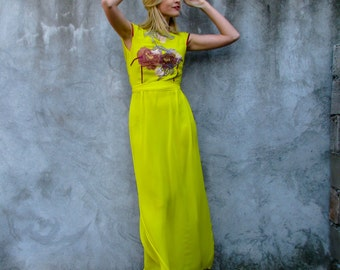 RESERVED UNTIL 6/17/2016 Open Back Maxi Long Elegant Yellow Dress with Flowers
