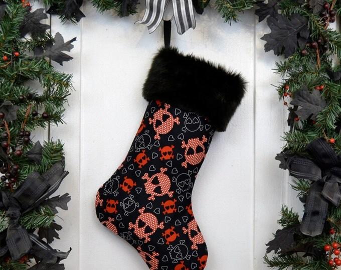Punk Princess Christmas Stocking Skulls and Hearts Red Black