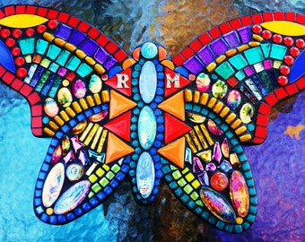 """MOSAIC BUTTERFLY - Your Color Choice - Custom Order,  'Wild & Funky' Style,  Multicolored, Glass, Tiles, Beads, Gems (16""""x10"""")  OOAK!"""
