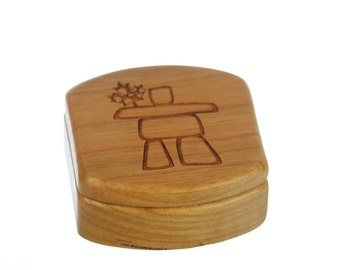 "Inukshuk Wooden Box, Solid Cherry, Pattern MS46 Inukshuk, 1-3/4""L x 1-7/8""W x 7/8""D Paul Szewc, Masterpiece Laser"
