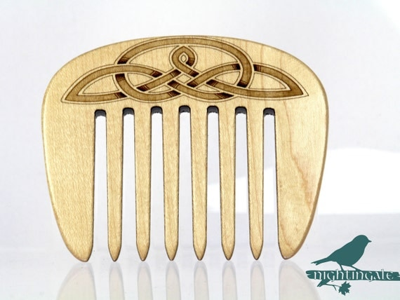Hair Comb, Wooden Comb, Celtic Knot Laser Engraved, Solid Hard Maple , choice of Coarse or Fine, Paul Szewc