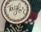 Embroidered Christmas ornament; Christmas decor; Custom ornament; Embroidered name ornament; Hoop art ornament; Holly berry ornament