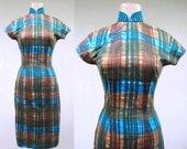 Vintage 1950s Dress / 50s Plaid Cotton Cheongsam Wiggle Dress / Small
