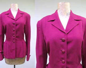 Vintage 1940s Jacket / 40s Maroon Wool Fitted Jacket / Medium