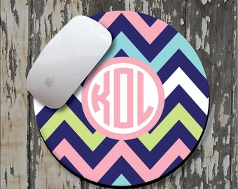 PINK NAVY CHEVRON Personalized Mouse Pad, Personalized Mousepad, Monogram Mouse Pad, Monogrammed Mousepad, Custom Mouse Pad, Custom Mousepad