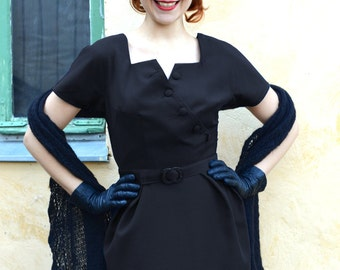 50s style wiggle dress in black wool, made to order, sizes US 0 to 16 / vintage style dress / pin up dress / cocktail dress / party dress