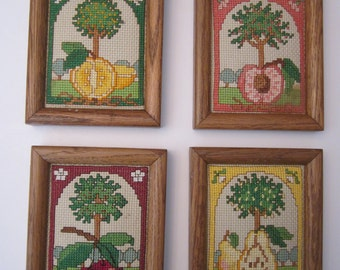 Group of 4 Framed Fruit Tree Needlework Pictures - Cherries, Oranges, Pears and Peaches - Small Kitchen Wall Art