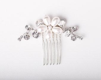 Wedding Comb - Alena Small Hair Comb in White Pearl & Silver Crystal - Pearl Hair Comb - Silver Hair Comb - Bridal Comb - Bridesmaid Comb
