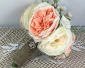 Wedding bouquet, Rustic wedding, Burlap wedding, Bridal bouquet, Shabby Chic wedding bouquet, Country wedding, Flower bouquet, Barn wedding