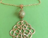 Celtic Gold and Connemara Marble Necklace