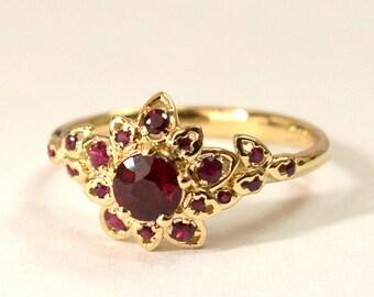 Ruby Art Deco Petal Engagement Ring No.2B  - 14K Gold and Ruby engagement ring, leaf ring, flower ring, natural ruby ring, halo ring, rubies