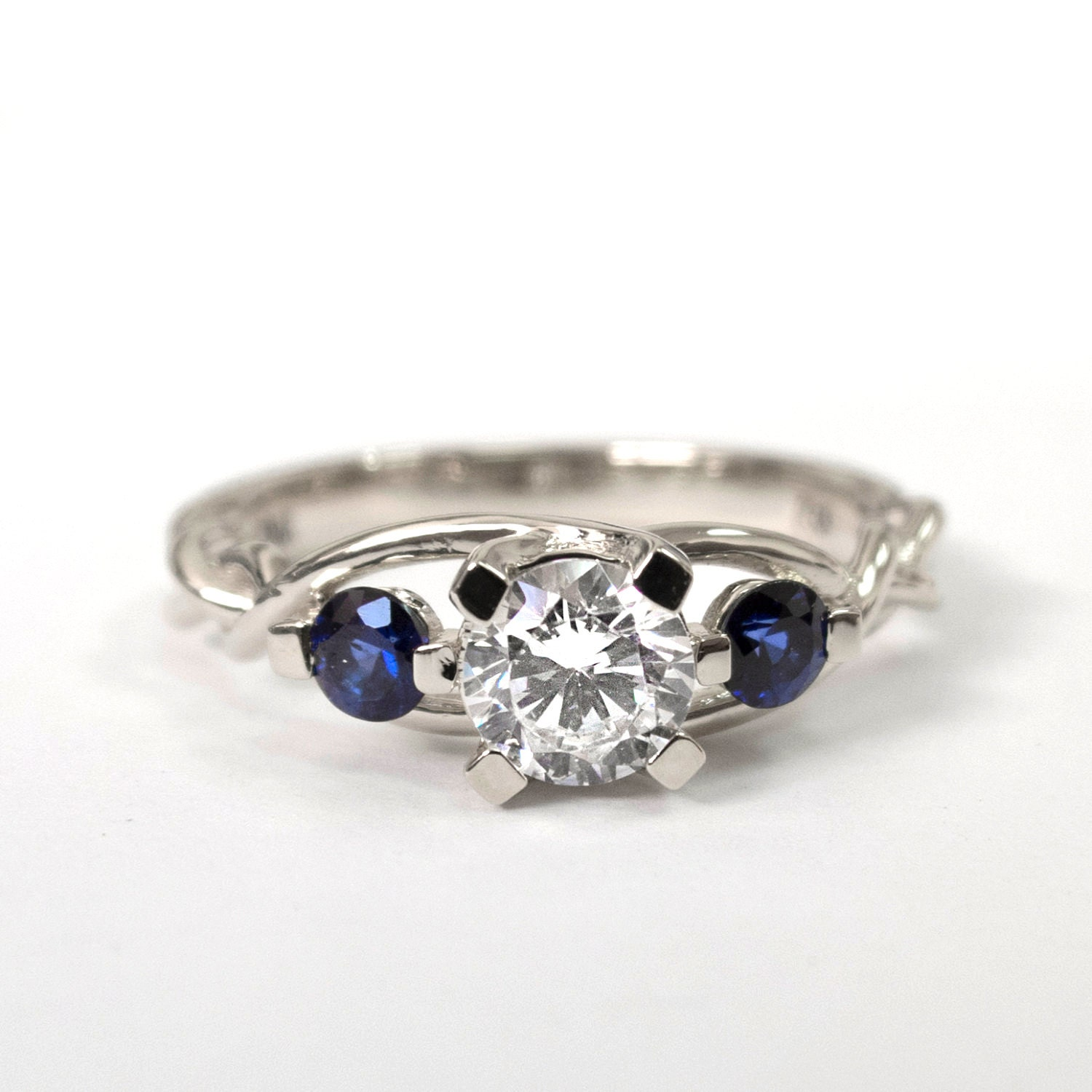 Braided Engagement Ring No 7 Diamonds and Sapphire