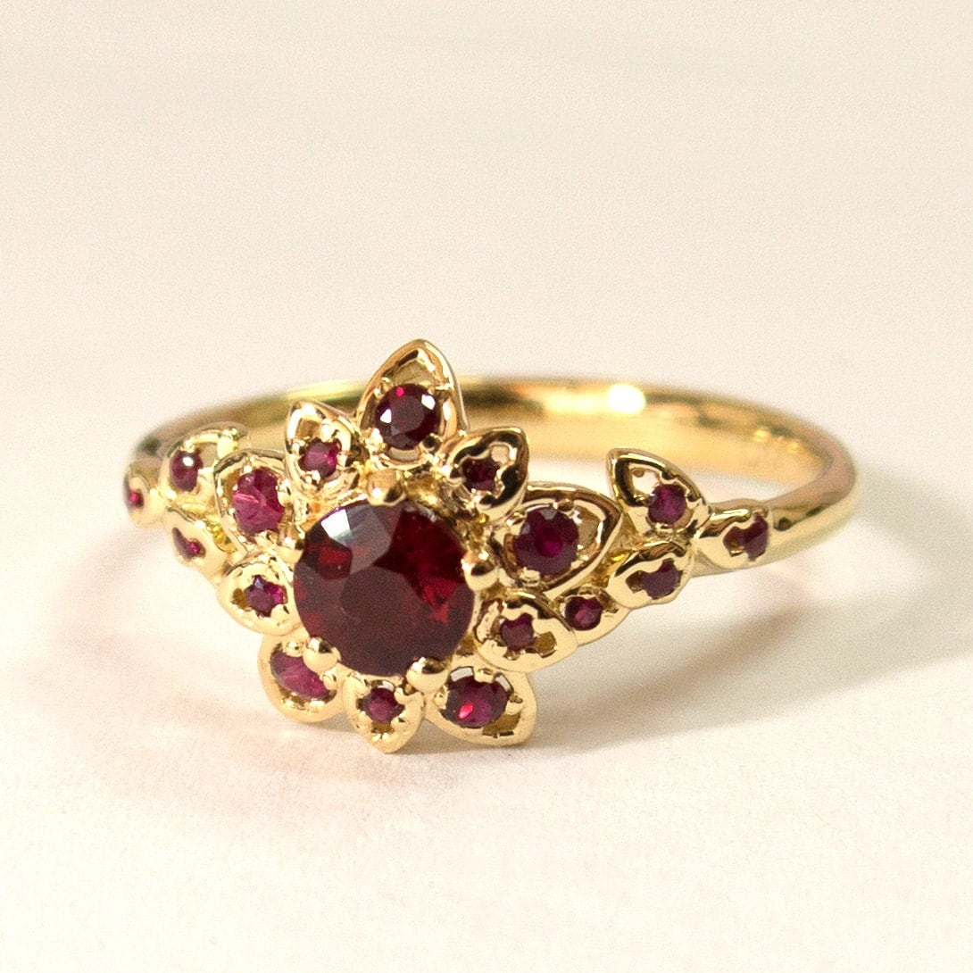 Ruby Art Deco Petal Engagement Ring No.2B 14K Gold And Ruby