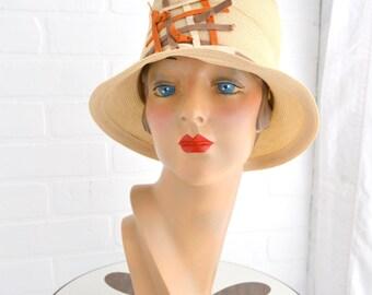 1960s Genevieve Cream Straw Bucket Hat