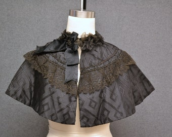 1880s Black Victorian Mourning Cape