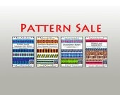 SALE / 4 Tubular Strip Piecing Quilt Patterns / Sawtooth Borders, Flying Geese, Diamond Rows and Spirals and Greek Keys,
