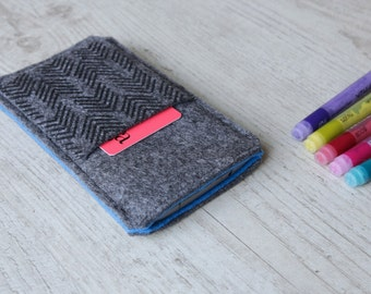 HTC 10, HTC One A9, M9, M8, M7 sleeve case pouch handmade dark felt and blue with pocket and arrow pattern