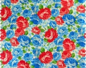 Red and Blue fabric, Blue flower fabric, red flower fabric, Mothers Day