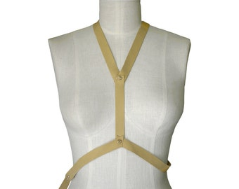 Leather Body Harness in soft goatskin Soft leather body vest Body Fashion Wear Palomino cream bone Leather Women One Size