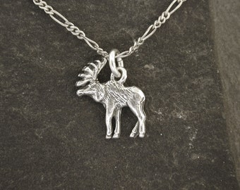Sterling Silver  Moose Pendant on a Sterling Silver Chain.