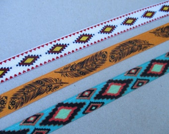 Southwestern Elastic Headbands Adult Teen Size Tribal Hair Band Aztec Feather Stretchy Head Band Native American Indian Orange Turquoise