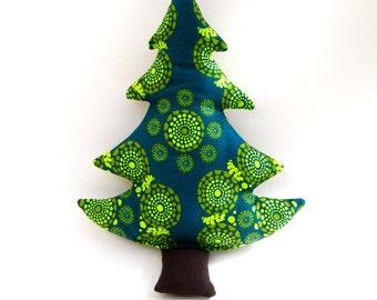 Christmas Tree Pillow  - Organic Cotton - Green - Eco Friendly - -Repurposed - Holiday Decor
