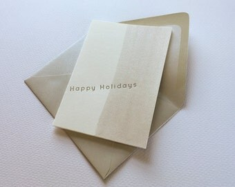 Letter Press Holiday Card with Watercolor___Silver