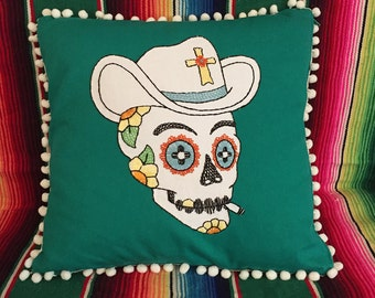 Day of the Dead Cowboy Sugar Skull Embroidered Calavera Pillow in Green