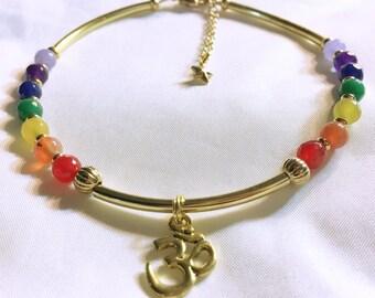 Chakra Anklet, Chakra Energy Anklet, Chakra Energy Jewelry, Reiki Charged Jewelry, Yoga Jewelry, 7 Chakra Gemstone, Ohm, Rainbow Anklet