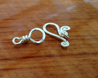 Sterling silver hook clasp , handcrafted clasp, artisan, handmade, hammered, handcrafted findings, jewelry making supplies, small, spiral