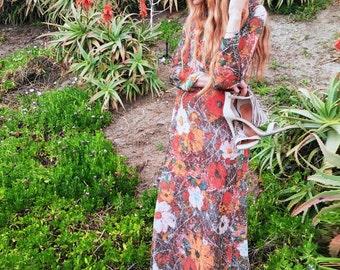 vintage 70s floral shimmer dress