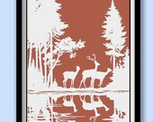 Woodland Deer Poster. White on Red Silhouettes .Large A2 (40 x 60 cms ) Print