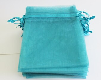 """Teal Organza Bags Premium  4"""" x 4 3/4""""  Favor Bags 10, 20 or 50 Weddings / Party Favors / Jewelry Bags / Trade Shows"""