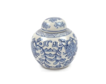 Chinese Ginger Jar - Blue and White Ginger Jar, Floral Ginger Jar, Chinoiserie, c.1970s