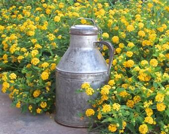 Vintage Milk Can Galvanized Metal Cream Can 2 Gallon Milk Can Rustic Decor Vintage 1940s