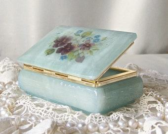 Vintage Alabaster Treasure Box Pale Blue Green Jewelry Box Pansies Genuine Hand Carved Italian Alabaster 1990s