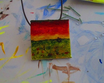Wearable Art: Miniature Oil Painting Necklace and Brooch
