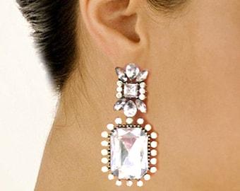 Bridal Earrings Wedding Earrings Dangle Earrings Wedding Bridal Jewelry Chunky Dangle Earrings Clear Rhinestone Large Clear Hollywood