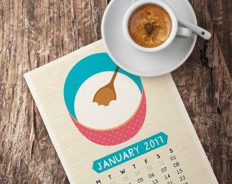 Printable Foodie Calendar 2017 Kitchen Food Illustration