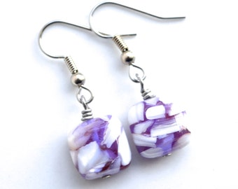 Purple and White Mother of Pearl Squares . Earrings