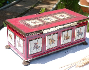 """French Vintage Chocolate Tin Box - Chocolat Box Bouquet D'or - No 3 - """"CAVALIERS"""" - Made in France - Rusty Metal Box - Collectible - Storage"""
