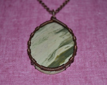 Green Serpentine copper wrapped oval