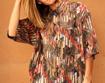 versace style 90s SLOUCHY top abstract SURF slouchy WILD baroque oversize blouse shirt