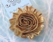 Shabby Chic Flower Hair Clip-Metallic Gold-No Slip Hair Clip