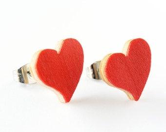 Red heart earrings, heart stud earrings, dainty heart earrings, small heart earrings, girlfriend gift earrings, romantic earrings, gift wife